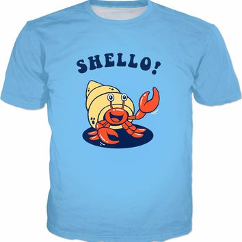 Shello! T-Shirt - Hermit Crab Sea Shell Funny