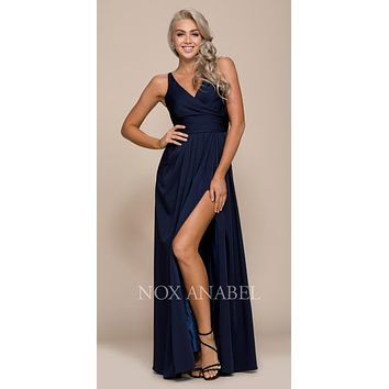 Ruched Satin V-Neck Long Evening Gown Front Slit Navy Blue