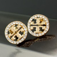 8DESS Tory Burch Women Fashion Diamonds Stud Earring Jewelry