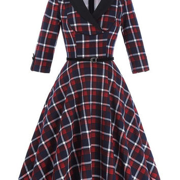 Belle Poque Autumn Plaid Dress 3/4 Sleeve Lapel Grid Pattern Tunic Women Plus size Clothing Casual Picnic Vintage Party Dresses