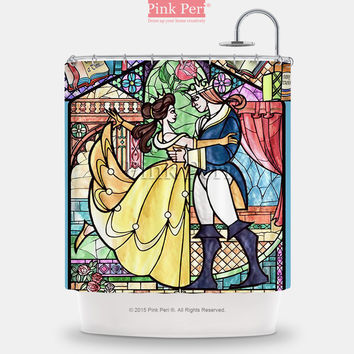 Beauty and The Beast Stained Glass Window Shower Curtain Home & Living 221