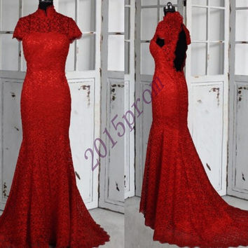 Long Red Lace Prom Dresses,High Neck Key Hole Back Wedding Dresses,Long Lace Evening Dresses,Formal Party Grown 2015