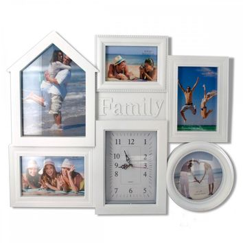 Family Collage Photo Frame With Clock