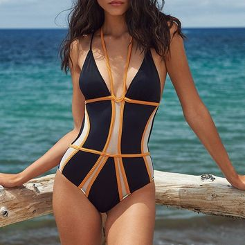 Irgus Swimwear Black w/ White Mesh Insert & Orange Trim One Piece Swimsuit Swimwear