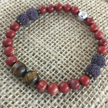 Bracelet, Red Jasper, tiger eye 8mm stone beads, 8mm Lava Rock beads and 1 ml of Essential Oil for Diffusing/Aromatherapy