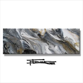 Original Oil Painting - Resin Coated - 72 inch - BLACK AND GOLD - ELOISExxx