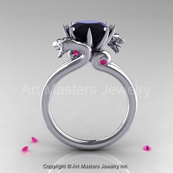 Art Masters Scandinavian 14K White Gold 3.0 Ct Black Diamond Pink Sapphire Dragon Engagement Ring R601-14KWGPSBD