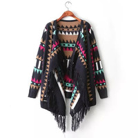 Ladies Printed Free Size Asymmetrical Sweater Cardigans Knitted Vintage Casual Warm Winter 2014 Fashion = 1828249732