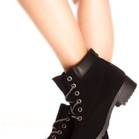 BLACK FAUX LEATHER MATERIAL LACE DESIGN CASUAL BOOTS
