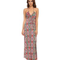 Tbags Los Angeles Deep-Ve Ruched Halter Maxi w/ Braided Ties Pink/Red/Green - Zappos.com Free Shipping BOTH Ways