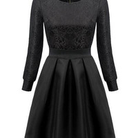 Black Jacquard Cuff Sleeve Sheath A-line Mini Skater Dress