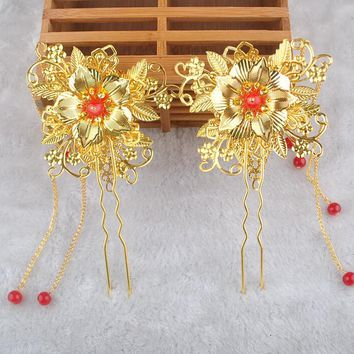 Chinese Style Bride Costume Hair Accessory Traditional Headdress Gold Color Flowers Hairpins Step Shakes
