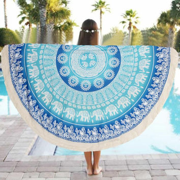 Blue Mandala Yoga Mat Tapestry Elephant Design Indian Boho chic