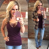Long Caged Cami: Plum