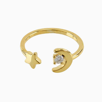 Gold Moon and Star Knuckle Ring