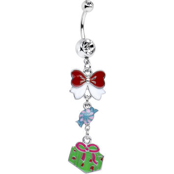 Clear Gem Christmas Present and Bow Dangle Belly Ring
