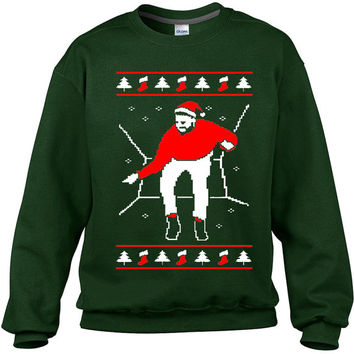 Drake Ugly Christmas Hat Hotline Bling Stockings Sweatshirt, Funny Ugly Xmas 1800 Hotline Bling Sweaters, Forest Green Hot New,  On Sale!!