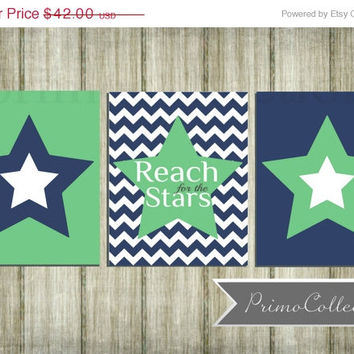 Nursery Wall Art Prints / set of 3 / stars theme / 8x10 inch / navy blue chevron and green / baby boy / boy's room decor