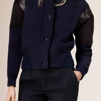 Knitted Bomber Jacket with Contrast Sleeves | Burberry
