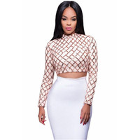 Diamond Sequin Crop Top O-neck Long Sleeve Sequined Fashion Design Short Tops Women Sexy Clubwear Tank Tops Blusas Femininas