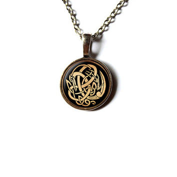 Bird necklace Celtic knot jewelry Pagan pendant NW285