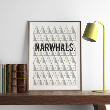Narwhals Print | Geometric Wall Art | Art Printable | Printable Wall Art | PDF Download | Funny Art