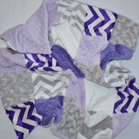 Minky Baby Blanket -  Monogrammed Patchwork - Purple, Gray, Lavender and White, Chevron