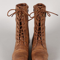Rice-76 Zipper Buckle Military Lace Up Mid Calf Boot