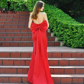 Missord 2017 Sexy wrapped chest bow halter maxi dress party dress FT4792
