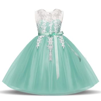 Princess Summer Girl's Dresses Children Clothing Girl Fancy Prom Gown Lace Kids Events Party Dresses For Girls Weddings