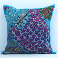 Elegant Handmade Heavy Beaded Indian Vintage Throw Pillow