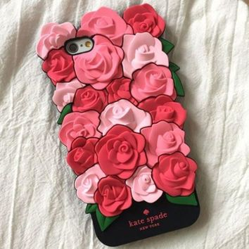 """""""Kate Spade"""" Stylish Women Rose mobile phone iPhone6 shell iphone 7puls silicone sleeve 7 soft shell 6s I"""