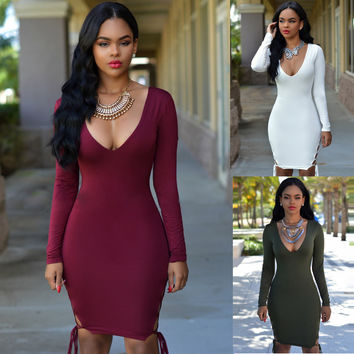 Deep V-Neck Long Sleeves Lace -up Side Slit Bodycon Midi Dress