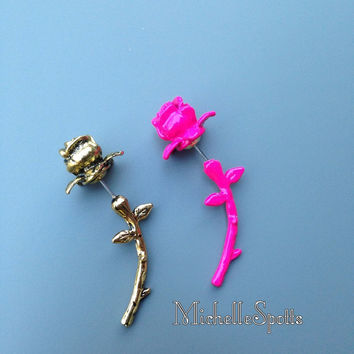 Rose Bud Stud Earrings Pink Roses Earrings Gold Roses Earrings Rose Stem Dangle Earring