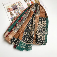Ethnic Scarves for Women Cotton Hijab Totem Checkers Warm Lady Scarf Brand New 180x100 cm [0886]