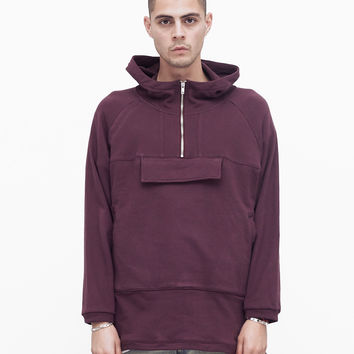 French Terry Anorak Pullover in Dark Oxblood