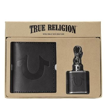 True Religion Wallet And Flask Gift Set - Black