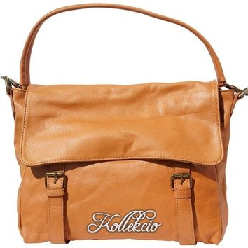 Tan Italian Leather Bag with Detachable Shoulder Straps
