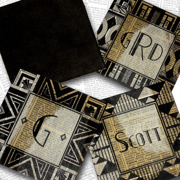 Custom Personalized Letter, Initial or Name  Glass Handmade Decoupaged Coasters