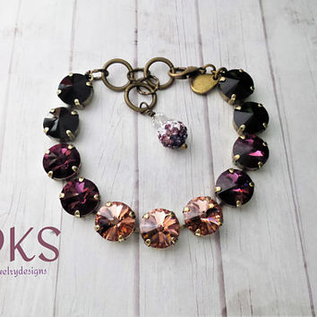 Autumn Rose, Swarovski 12mm Bracelet, Antique Gold, Vintage Look, Bridal, DKSJewelrydesigns,FREE SHIPPING