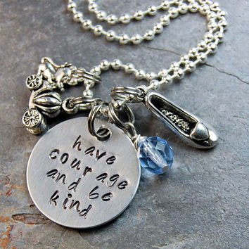 Cinderella Silver Princess Necklace Jewelry Hand Stamped, Blue crystal on Metal Chain