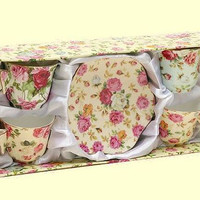 Rose Chintz Butterfly Handle Demi Teacups in Gift Box