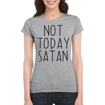 Not Today Satan Letter Print Women T-shirts Harajuku Streetwear Hipster Graphic Tee Tops Tumblr
