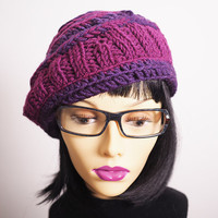 Purple hat - Woman knit hat - Crochet beret - Fuchsia tam - Woman winter hat - Multicolor hat - Fall accessories -Fall fashion-Teen girl hat