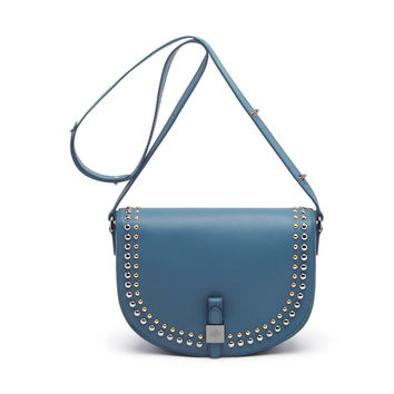 Tessie Satchel with Rivets in Steel Blue Soft Small Grain | Steel Blue | Mulberry