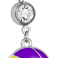 14g Surgical Steel Yellow & Purple Basketball Double Jeweled Dangle Belly Button Ring