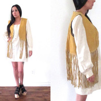 Vintage 60s SUEDE Long FRINGE Camel Brown Vest // Biker Hippie Hipster Boho Gypsy // XS Extra Small / Small / Medium / Large