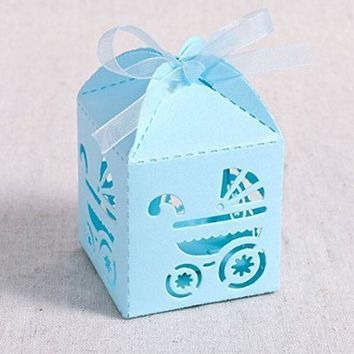 50 Pack Cross Laser Cut Candy Favor Box with Ribbons