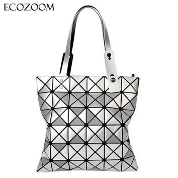 Women Fashion Folded Bag Hologram Geometry Handbag Ladies Casual Tote Top-handle Bag Shoulder Bags Pearl Bolsa