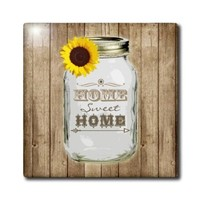 Janna Salak Designs Rustic Designs - Country Rustic Mason Jar with Sunflower - Home Sweet Home - 8 Inch Ceramic Tile (ct_128555_3)